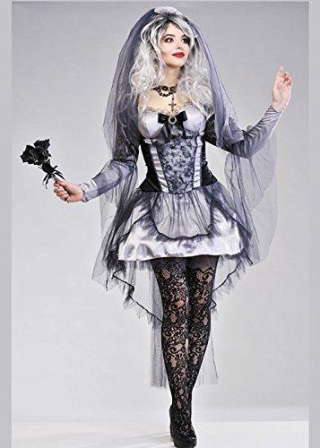 Damen Halloween gotische dunkle Braut (Zombie Braut Womens Kostüm)