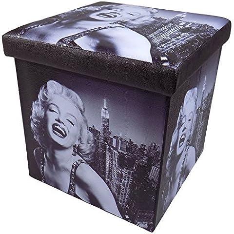 Marilyn Monroe de piel sintética caja plegable taburete de pie 38cm x 38cm x 38cm