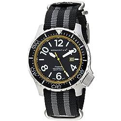 Momentum Men's Quartz Stainless Steel and Nylon Watch, Color:Black (Model: 1M-DV74Y7S)