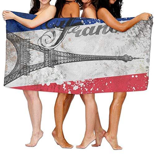 HaiYI-ltd Serviette de Bain en Microfibre pour Voyage et Plage Motif Drapeau de la France Tour Eiffel Serviette de Bain Serviette de Plage 78,7 x 137,1 cm