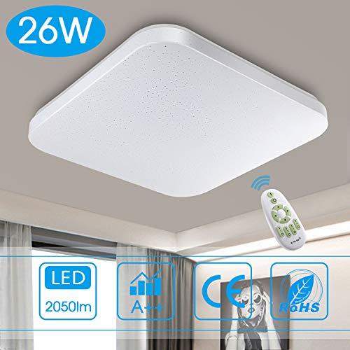 Dimmbar Deckenleuchte LED Badezimmer Küche Schlafzimmer Deckenleuchten Wohnzimmer Korridor Balkon Flur Bad Deckenlampe 3000/4000/6000K Moderne Wasserdichte quadratische Lampe Decke 2050lm 26W LUSUNT