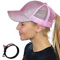 Zinuo Ponycap Messy High Bun Ponytail Adjustable Glitter Mesh Trucker Baseball Cap (Pink)