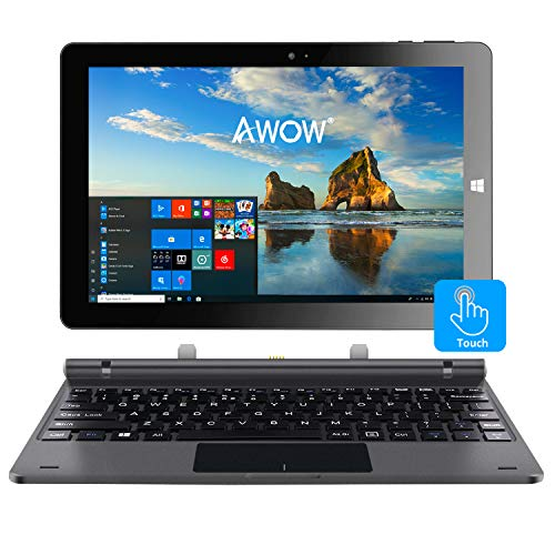 """10.1"""" Touch Screen Windows 10 2-in-1 Laptop Tablet PC with Intel X5-Z8350 Quad-Core 1.44Ghz/Ips HD 1280 X 800/4GB/32GB/Dual Webcam/Wi-Fi/Bluetooth 4.0/Micro HDMI/Micro SD/USB/Keyboard/Iron Gray"""