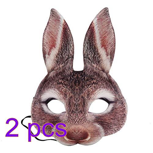 Amosfun Kaninchen Halbe Gesichtsmaske Hasen Ohr Maske für Ostern Karneval Party Kaninchen Kostüm 2 Stücke (Braun)