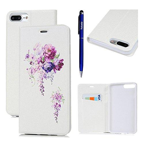 iPhone 7 Hülle, Yokata PU Lederhülle Flip Case mit Blumen Motif Kartenfach Brieftasche Magnet Cover + 1*Stylus Pen - Weiß Weiß