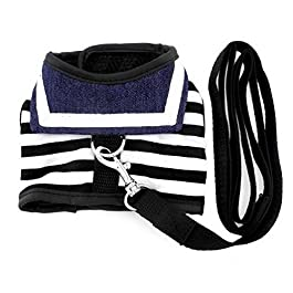 Smalllee _ Lucky _ Store Pet vestiti per piccolo cane gatto Striped Sailor Vest Harness guinzaglio set in rete imbottita