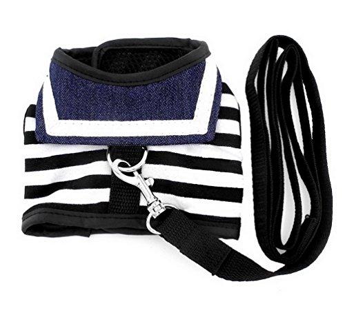 Smalllee _ Lucky _ Store Pet vestiti per piccolo cane gatto Striped Sailor Vest Harness guinzaglio set in rete imbottita