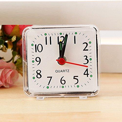 SYN Mini Reloj Despertador Compacto para el hogar, Mesa portátil, Blanco, Tamaño Libre