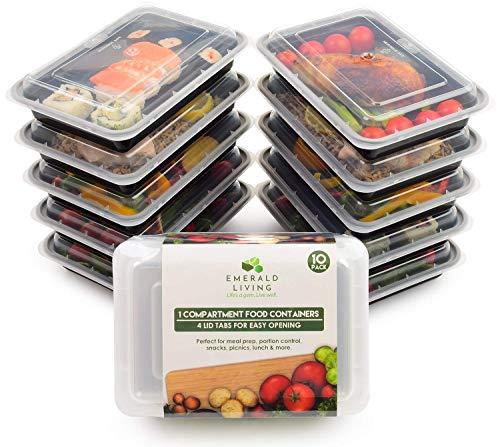 Lot de 10 boîtes alimentaires - Sans BPA Boîtes alimentaires réutilisables en plastique avec couvercle. Idéales comme boîtes pour le déjeuner - Empilables - Passent au micro-ondes, au congélateur et au lave-vaisselle - 1,1 l - E-book inclus.