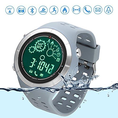 Sport-Smartwatch Bluetooth Lauf-Uhr Schwimm-Tracker IP67 Wasserfest Ferngesteuerte Kamera Bluetooth-Uhr Schrittzähler für Android und IOS Smartphone Grau
