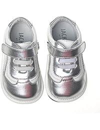 Mädchen Streifen Leder Baby Schuhe mit Klettverschluss 3mm gepolsterte Sohle cXLOol