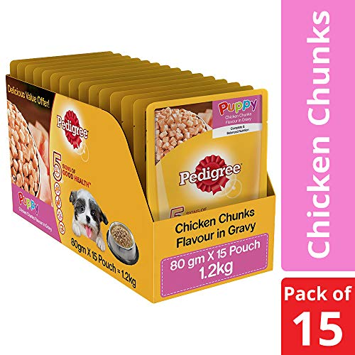 Pedigree Wet Dog Food, Chicken Chunks in Gravy for Puppy – 80g (Pack of 15)