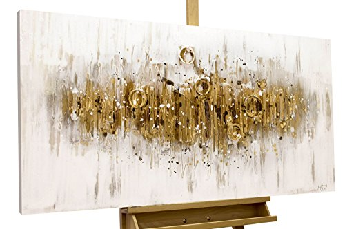KunstLoft® Acryl Gemälde \'Glittering Crowd\' 120x60cm   original handgemalte Leinwand Bilder XXL   Abstrakt Braun Grau   Wandbild Acrylbild Moderne Kunst einteilig mit Rahmen