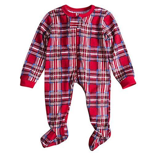 Xinvision Weihnachten Familie Matching Lange Ärmel Bluse und Plaid Lange Hosen Pyjama Set - Xmas PJs Schlafanzüge Nachtwäsche Feiertag Suit für Dad Mom Kinder Baby