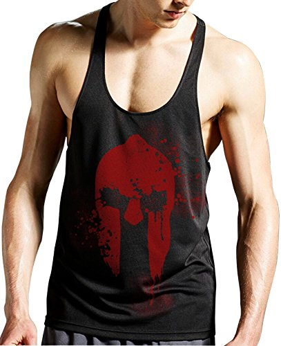 Stylotex Stringer Tank Top Spartan Helmet Fitness Gym Shirt SuperCool-Material mit Feuchtigkeitsregulierung, Farbe:schwarz;Größe:S (Cross Tank Top)