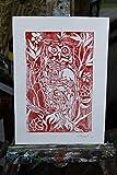 Rote Eule, Linolschnitt -Original künstlerische Gravur von Davide Pacini handprinted Größe cm 20,9x29,8 cm. Made in Italy, Lucca Toskana.