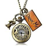 Pretty See Vintage Uhr Alice im Wunderland Trinken Mich Flasche Taschenuhr Halskette Geschenk(1)