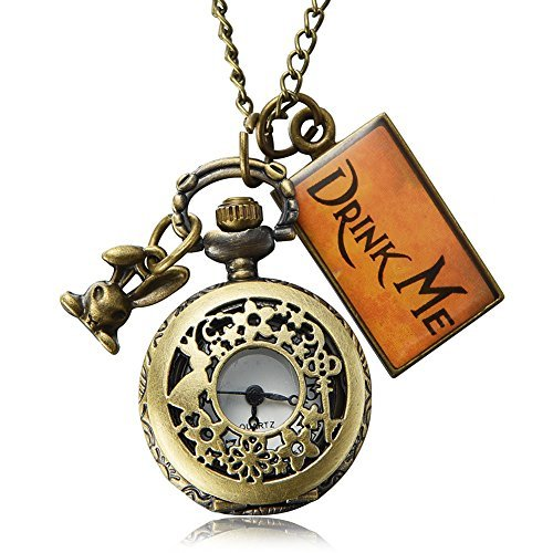 Pretty See Volle Jäger-Mode trinken mich mit Kaninchen Mini Pocket Watch Halskette Kette Geschenk (A) (1)