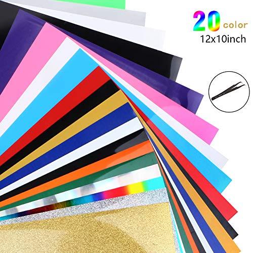 Heat Transfer Vinyl Wärmeübertragung Vinyl Textilfolien Transfer-Papier Textilfolien Transferpapier Transferfolie für DIY T-Shirt, Buchstaben, Aufkleber, Schilder (20 Farben)