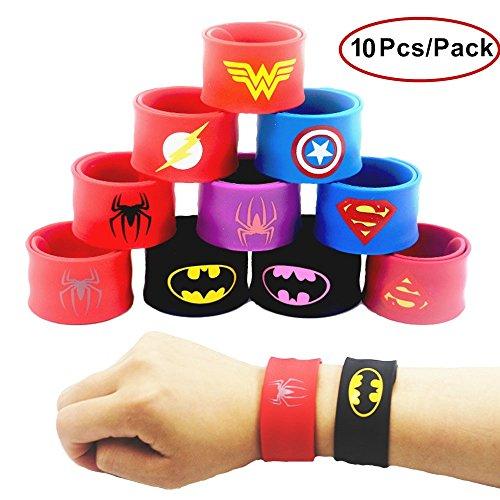 Superheld Slap Armbänder Band für Kinder Jungen & Mädchen-Geburtstag-Weihnachten-Geschenke-Halloween-Party liefert Gefälligkeiten, Spielzeug, Schulpreis