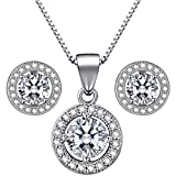 Lydreewam 925 Sterling Silver Women Necklace Earrings Jewellery Set with 3A 6mm Round Cubic Zirconia Gift Box for Party Wedding Vacation