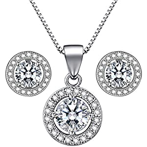 Silverly Womens .925 Sterling Silver CZ 46cm Chain Necklace Stud Earrings Set