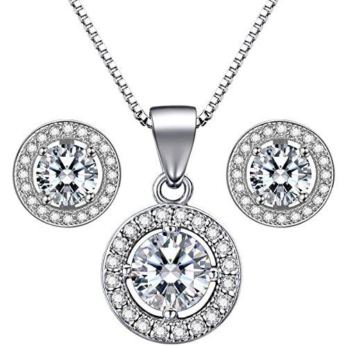 """Lydreewam Schmuckset Silber 925 Damen Ohrstecker Ohrringe 18\"""" Anhänger Halskette mit 3A 6mm Zirkonia"""