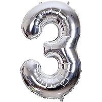 SMARCY Globos Número 3 Decoración de Cumpleaños 3 Años Fiesta de Cumpleaños (Plata)