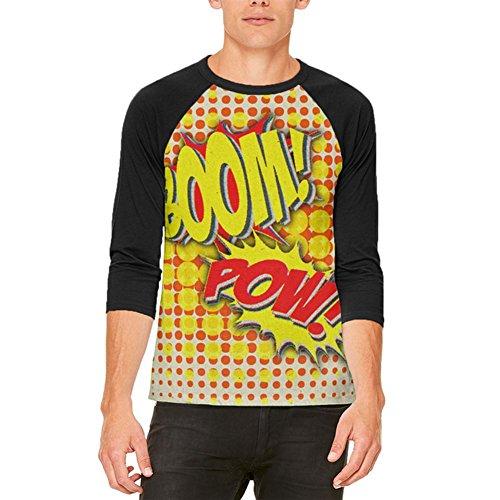 Halloween-Boom Pow Vintage Comic Book Kostüm Herren Raglan T Shirt weiß-schwarz (Kostüm Of Design Music Sound)