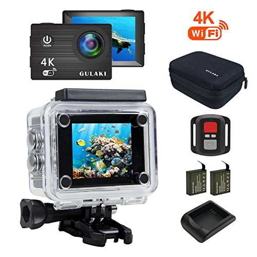 GULAKI-Action-Cam-Full-HD-4K-16MP-Wi-Fi-Azione-Cam-impermeabile-40M-schermo-da-20-pollici-LCD-170--wide-angolo-con-sensore-Sony-2-PC-1050mAh-batterie-e-kit-di-accessori-remoti-a-24GHz