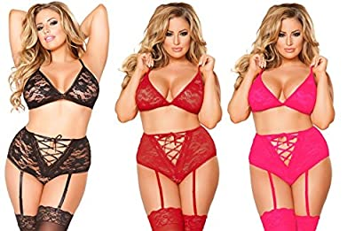 SEXY EMPORIUM - Women's Sexy Suspender Belt Knickers & Bra Set - Sexy Plus Size Lingerie Sizes 20, 22, 24, 26, 28