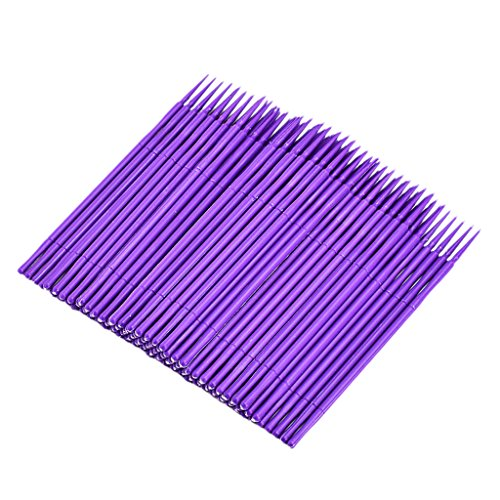 Baosity 100x Micro Brosse Jetable Applicateur Dissolvant Colle à Faux Cils / Nail Art / Tatouage - Violet