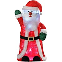 WeRChristmas Pre-Lit Standing Santa with 30 LED Lights Christmas Decoration, 80 cm - Large, White