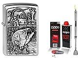 Zippo Feuerzeug Bass Fishing & Zubehör L + Stabfeuerzeug Chrome Brushed