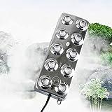 HUKOER Nebelmaschine Fogger 10 Kopf Ultraschall Luftbefeuchter mit Transformator für Garten, Teich, Bühneneffekte, Lebensmittelkonservierung