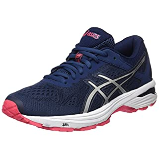 ASICS Women's GT-1000 6 Running Shoes, (Insignia Blue/Silver/Rouge Red), 39.5 EU (6 UK)