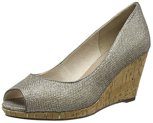 Tamaris 29303, Damen Peep-Toe Pumps, Silber (PLATINUM GLAM 970), 39 EU