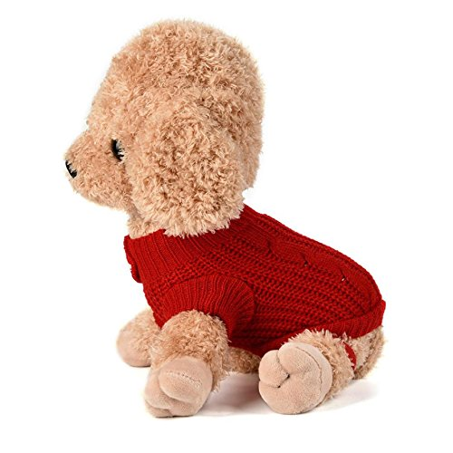 Imagen de ropa para perros, internet puente de punto para mascotas suéter de invierno disfraz de peluche s, rojo  alternativa