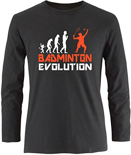 EZYshirt® Badminton Evolution Herren Longsleeve Schwarz/Weiss/Orange