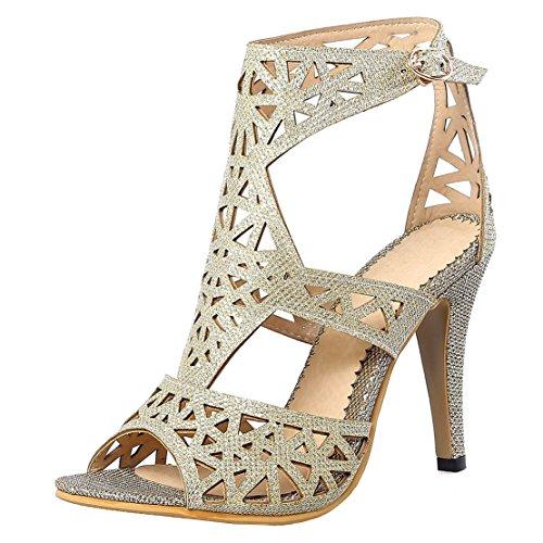 b8599c5b8220ff AIYOUMEI Damen Stiletto High Heels Glitzer Gladiator Sandalen mit Schnalle  Schuhe Hochzeit Riemchensandaletten mit Pfennigabsatz