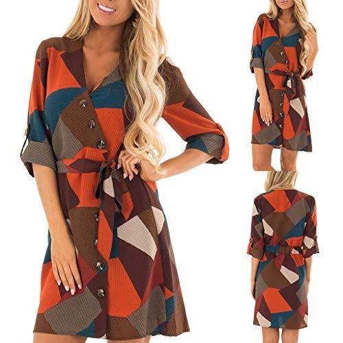 Knielanges Kleid mit fünf Ärmeln, Malloom Frauen-beiläufiger Druck-V-Ausschnitt Knopf-Verband-langes Hülsen-Kleid ()