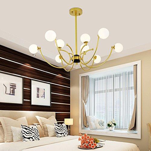 Glas Bead Kronleuchter Beleuchtung Lampe (ZHFC-nach der modernen skandinavischen minimalistischen wohnzimmer beleuchtung kreative persönlichkeit eisen - glas - ball modeshop bohnenstange kronleuchter,goldene 12 kopf warmes licht)
