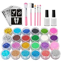 VIUME Glitter Tattoo Kit, Temporary Tattoo Set Body Art Paint Birthday Party for Girls Kids Teenager Adult Christmas Gifts with 24 Colors Glitter, 89 Unique Stencil, 2 Glue, 2 Brushes.
