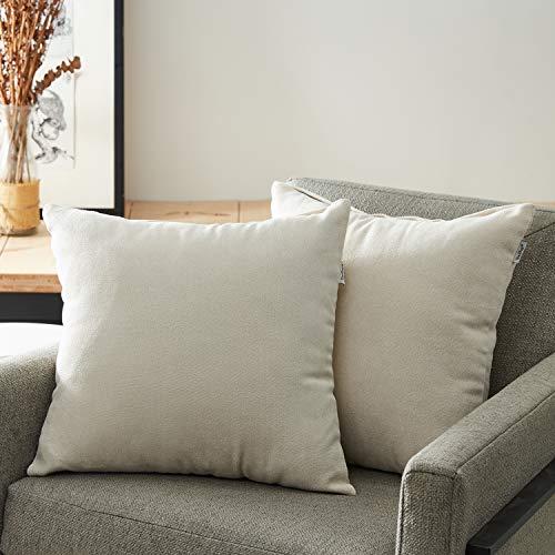 Top Finel Packung mit 2 Leinen Baumwolle Einfarbig Kissen Kissenbezüge Dekorative Kissenhülle Kopfkissen Für Sofa,45cmX45cm,Weiß