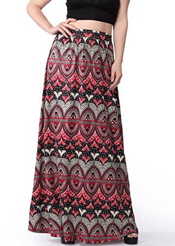 Damen Paisley Print Full / Knöchel Länge Elastische gefaltete Maxi Lange Röcke Wie abgebildet