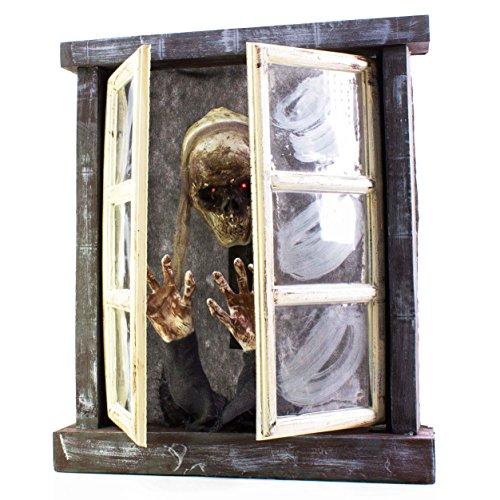 showking Halloween Fenster mit Skelett Grace mit schaurigen Geräuschen, Bewegungsfunktion, LEDs, 13 x 72 x 85 cm - Grusel Dekoration/Horror Party
