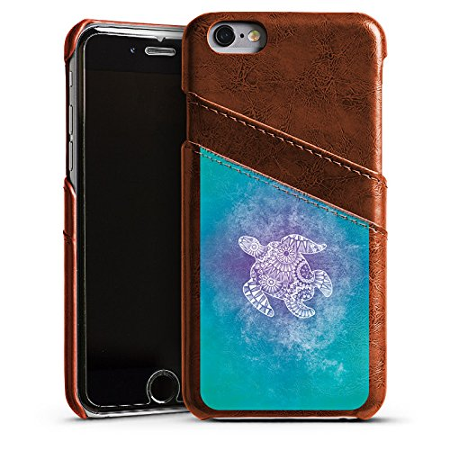 Apple iPhone SE Housse Outdoor Étui militaire Coque Mandala Turtle Tortue Motif Étui en cuir marron