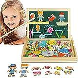 Magnetisches Holzpuzzles Puzzles, Holzpuzzle Tafel, Ankleiden, Doppelseitige Magnetische Angeln Spiel, Schreibtafel für Kind ab 3 Jahre , MEHRWEG