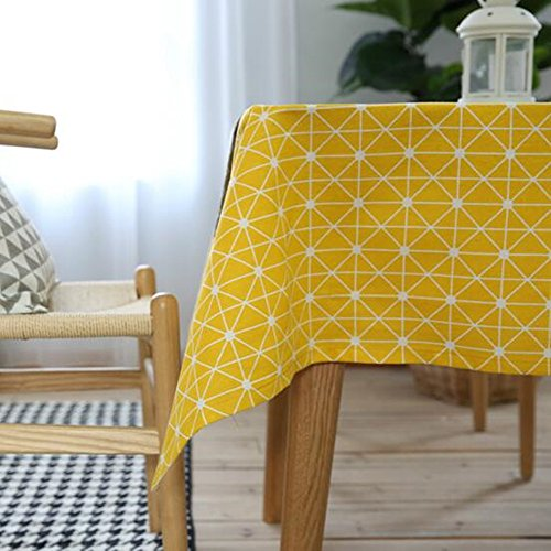 "Ustide Modern Style Geometric Tablecloth Diamond Pattern Cotton Linen Table Cloth for Kitchen 55""x78"" Yellow"