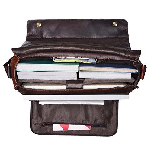 STILORD 'Nick' Umhängetasche Leder Herren Damen Unitasche 15.6 Zoll Laptoptasche Aktentasche Bürotasche Vintage Büffel-Leder, Farbe:cognac - dunkelbraun ebenholz - braun